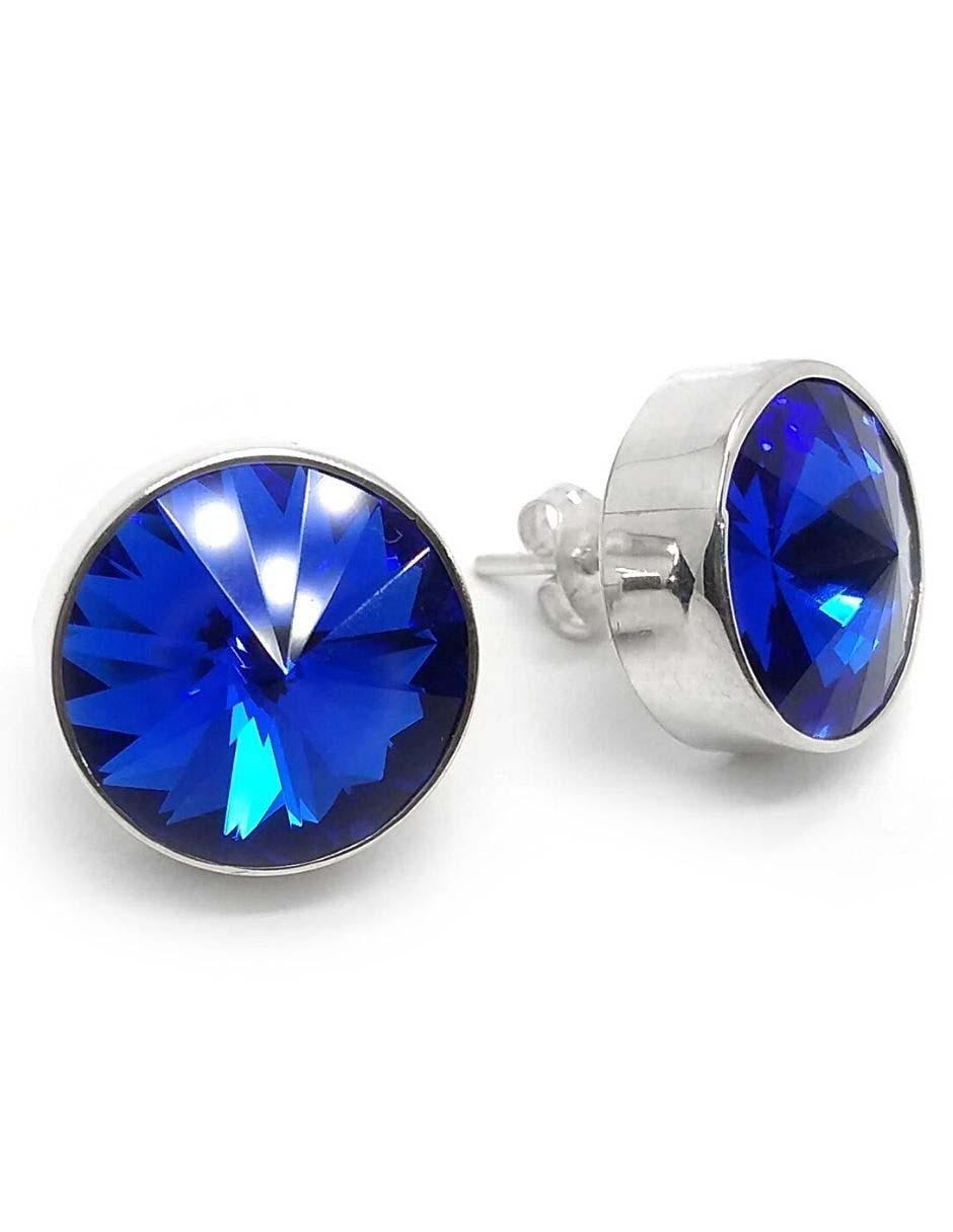 925 pendientes de Plata Cristal Rivoli Cristales Swarovski ® 14mm de tono azul